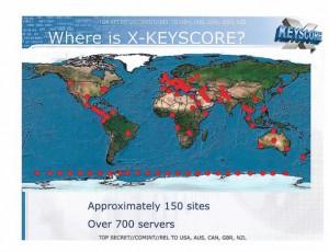 Διαφάνεια που δείχνει τους κόμβους συλλογής του προγράμματος XKEYSCORE